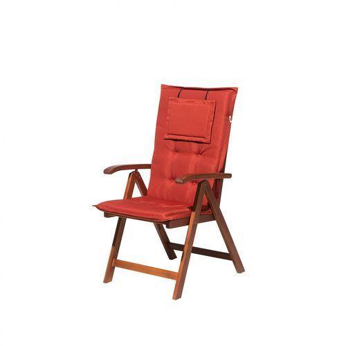 Beliani Krzesło ogrodowe drewniane poducha ceglasta toscana (4260586359503)