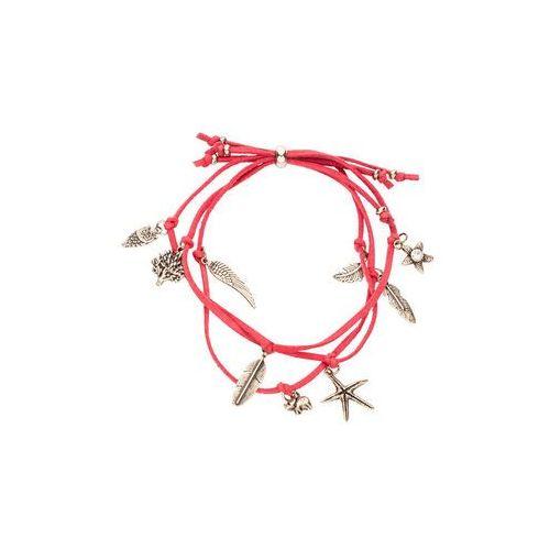 Trzyrzędowa bransoletka z wisiorami bonprix koralowy, kolor czerwony