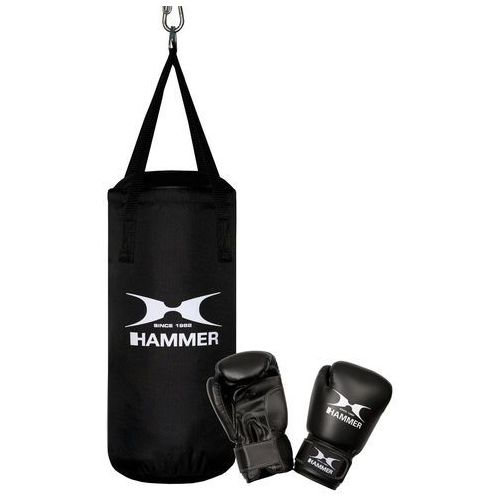 Zestaw bokserski HAMMER Junior – worek HAMMER Fit Junior czarny (50cm) + rękawice HAMMER Fit 6 OZ
