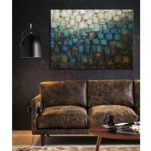 Obraz abstrakcyjny grubo fakturowany z metalicznym wykończeniem - mozaika z niebieskim