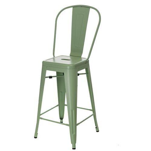 Stołek barowy paris back zielony inspirowany tolix marki D2.design