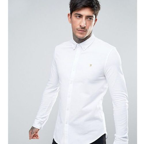 Farah Kompis slim fit pique jersey shirt in white Exclusive at ASOS - White, w 5 rozmiarach