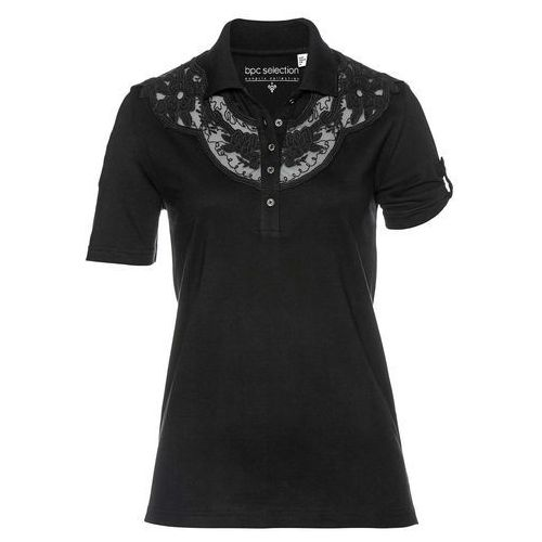 Shirt polo bonprix czarny, kolor czarny