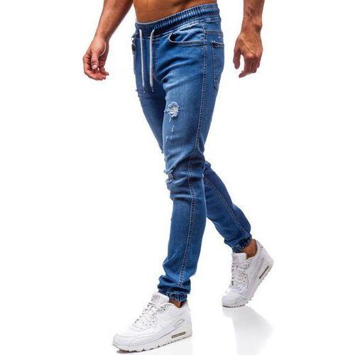 Spodnie jeansowe joggery męskie granatowe denley 2022-1, Otantik