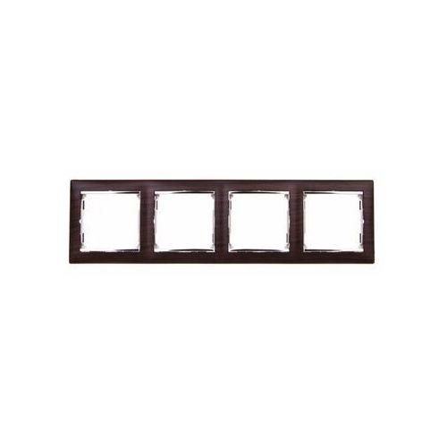Ramka poczwórna Legrand Valena 770374 pozioma wenge / srebro, kolor brązowy