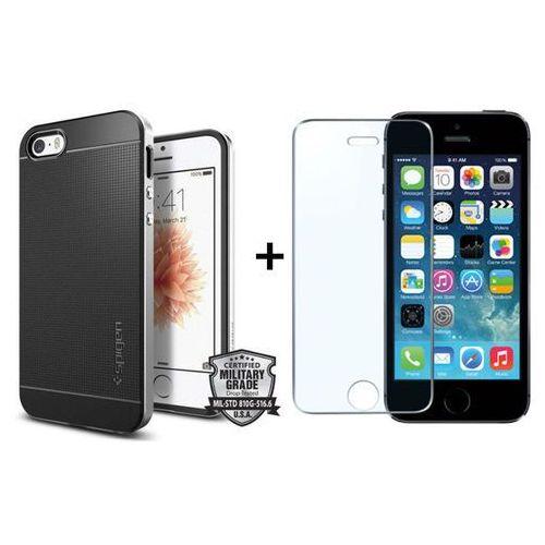 Sgp - spigen / perfect glass Zestaw | obudowa spigen neo hybrid carbon satin silver + szkło ochronne perfect glass dla modelu apple iphone 5 / 5s / se