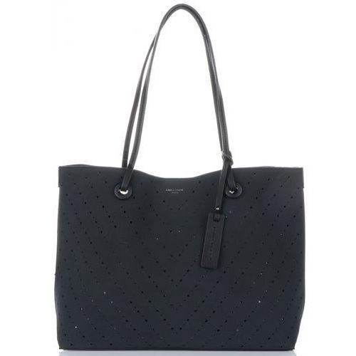 David jones Uniwersalne ażurowe torebki damskie z kosmetyczką czarne (kolory)