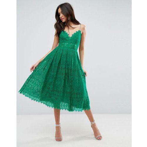 ASOS Lace Cami Midi Prom Dress - Green, kolor zielony