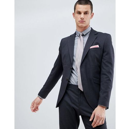 Selected Homme Suit Jacket In Slim Fit With Micro Grid Detail - Navy, kolor szary