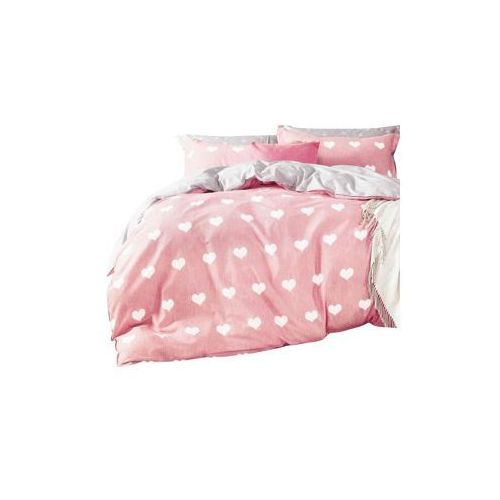 Pościel satyna bawełniana w serduszka różowa dziecięca nr k1136 100x140 2 części marki Collection world