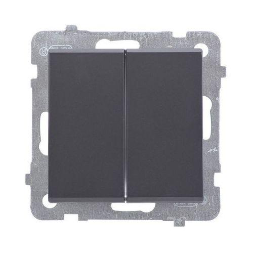 Łącznik schodowy podwójny SONATA Ospel 16AX czarny metalik IP20 ŁP-10R/m/33