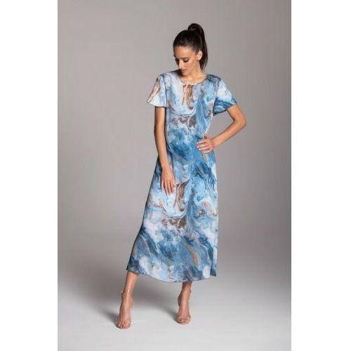 Długa letnia sukienka trapezowa z szyfonu w kolorze niebieskim z krótkim rękawem typu motylek - KOLEKCJA NIEBIESKIE MORZE, letnia