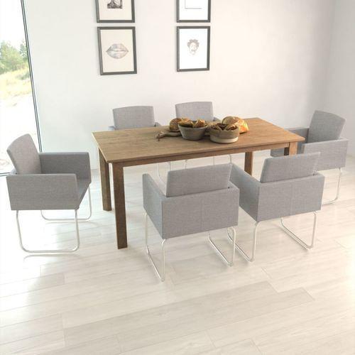 Krzesła do jadalni, 6 szt., jasnoszare, kolor szary