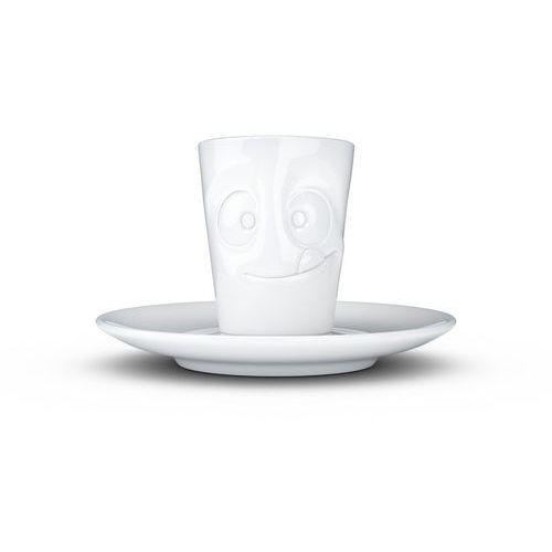 """- kubek do espresso - """"smaczna buźka"""" - biały błyszczący marki 58products"""
