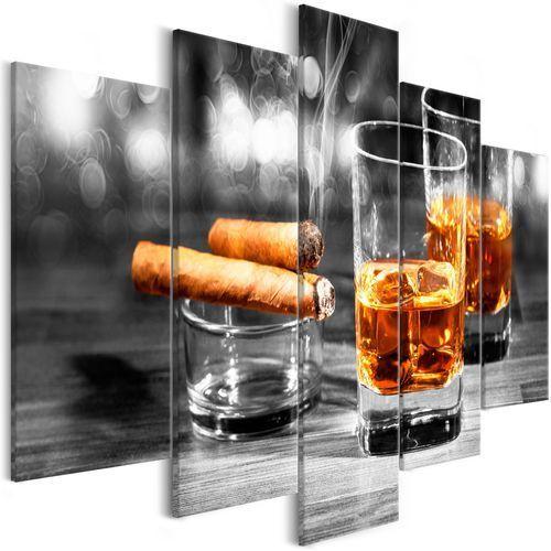 Artgeist Obraz - cygara i whisky (5-częściowy) szeroki