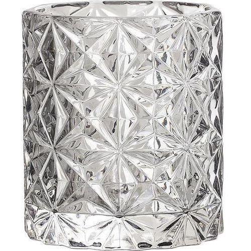 Świecznik bloomingville 9 cm jasnoszary szklany