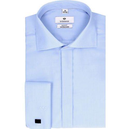 koszula wincass 2407 na spinki slim fit niebieski, bawełna