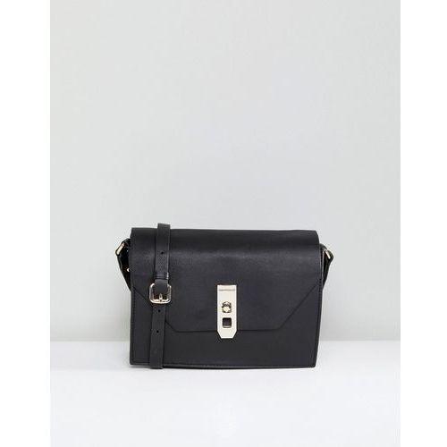 Paul Costelloe Real Leather Black Cross Body Box Bag with Gold Closure - Black, kolor czarny