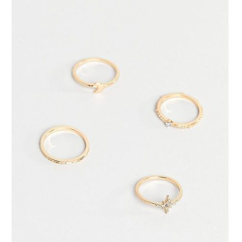 Asos design curve pack of 4 rings with star and moon design in gold - gold marki Asos curve