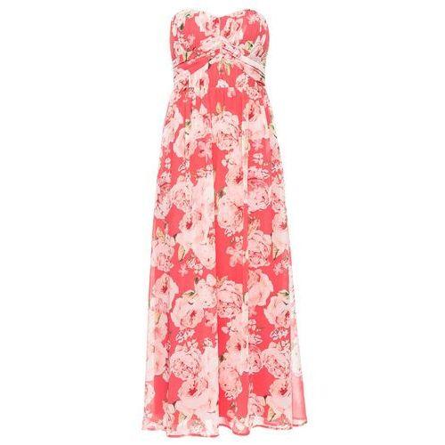Długa sukienka szyfonowa jasnoróżowy w kwiaty marki Bonprix