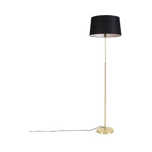 Qazqa Lampa podłogowa regulowana złota/mosiądz klosz czarny 45cm - parte