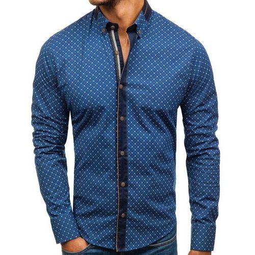 Koszula męska we wzory z długim rękawem granatowa 8811 marki Bolf