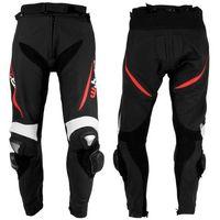 W-tec Męskie motocyklowe spodnie skórzane vector - kolor czarno-czerwony, rozmiar 2xl (8595153698423)