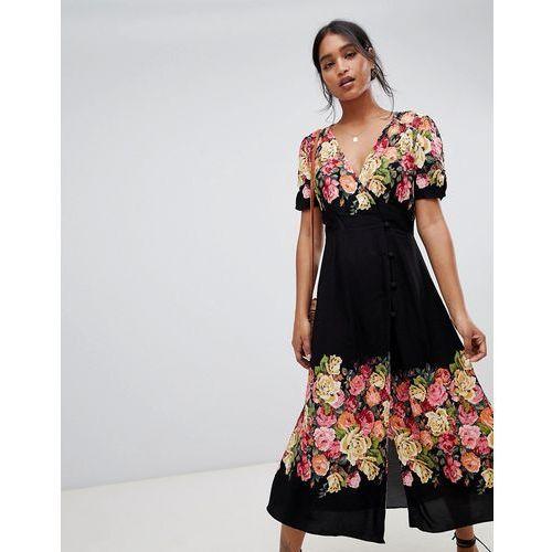 Free People Jaimie floral print midi dress - Black