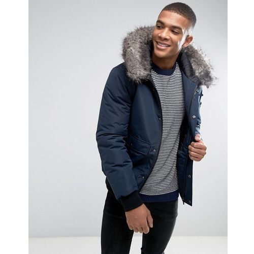 D-Struct Faux Fur Trimmed Mid Length Parka - Navy