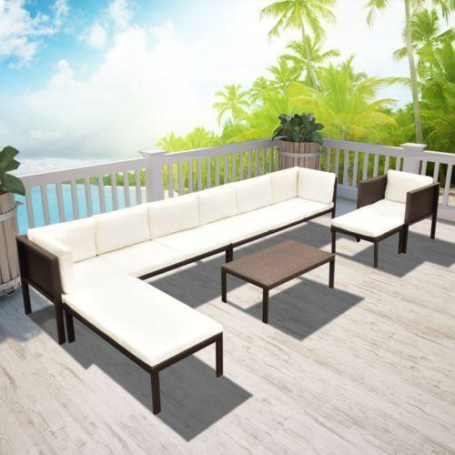 sofa ogrodowa 24 elementy brąz wyprodukowany przez Vidaxl