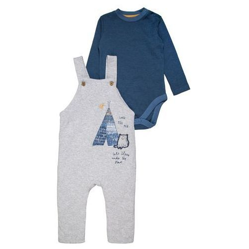 mothercare WADDED GRAPHIC DUNGAREE BABY SET Body grey marl, MA879
