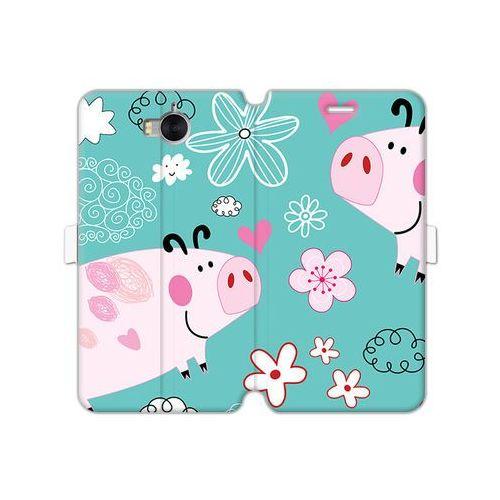 Huawei y5 (2017) - etui na telefon wallet book fantastic - różowe świnki marki Etuo wallet book fantastic
