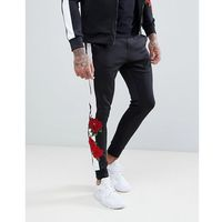 Kings Will Dream Skinny Joggers With Rose Print Side Stripes - Black, kolor czarny