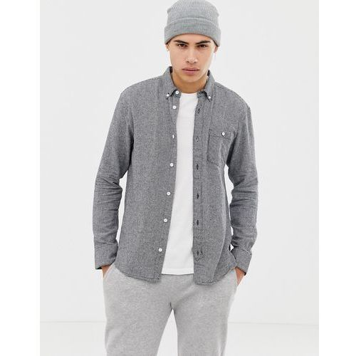 pocket button down brushed cotton dogstooth flannel shirt - black marki D-struct