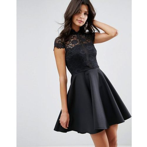 high neck mini skater dress with lace top - black, Asos