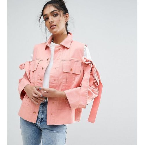 jacket with bow cold shoulder - pink marki Asos tall