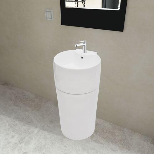 vidaXL Ceramiczna umywalka z otworem na kran oraz przelewem okrągła biała - produkt z kategorii- Pozostałe