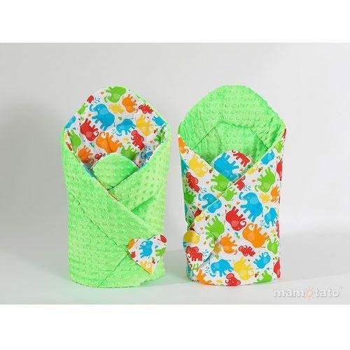 zabawka dwustronny rożek minky dla lalek słonie kolorowe / limonka marki Mamo-tato