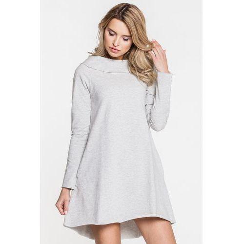 Casualowa sukienka w szarym kolorze - Ryba, 1 rozmiar
