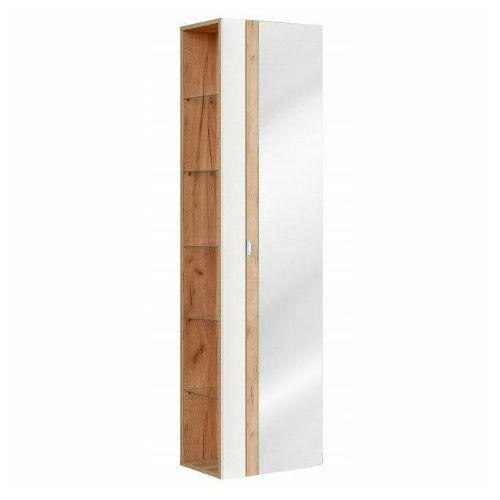 Pionowa podwieszana szafka łazienkowa z lustrem - Malta 6X Biały połysk