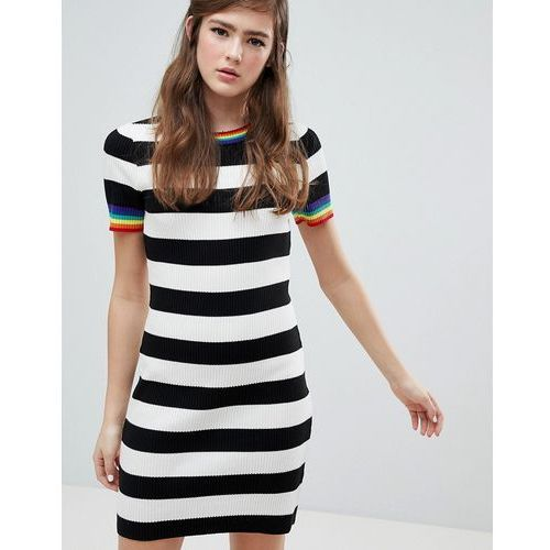 design stripe mini dress with rainbow contrast tipping - multi, Asos