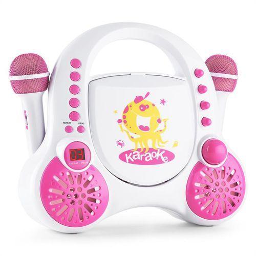 Auna rockpocket dziecięcy system karaoke cd aux 2x mikrofon zestaw naklejek biały