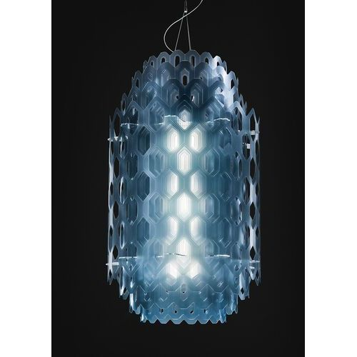 Niebieska, wielowarstwowa designerska lampa