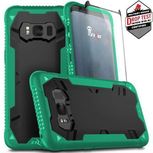 Zizo Proton Case Etui Pancerne Samsung Galaxy S8+ Plus (Emerald Green/Solid Black) + Szkło Hartowane Na Ekran, kolor czarny