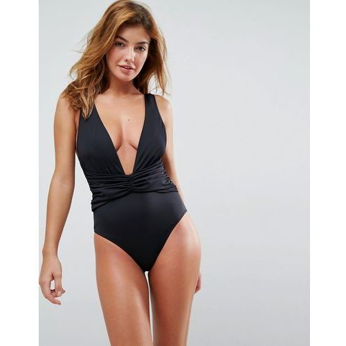 ASOS Plunge Ruched Front Swimsuit - Black