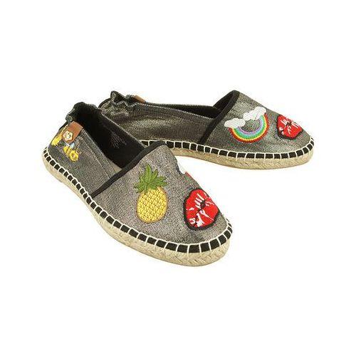 TAMARIS 24605-20 013 black metallic patch, baleriny espadryle damskie - Czarny (4059252153244)