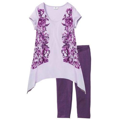 Piżama ze spodniami 3/4 bonprix jagodowo-bez z nadrukiem