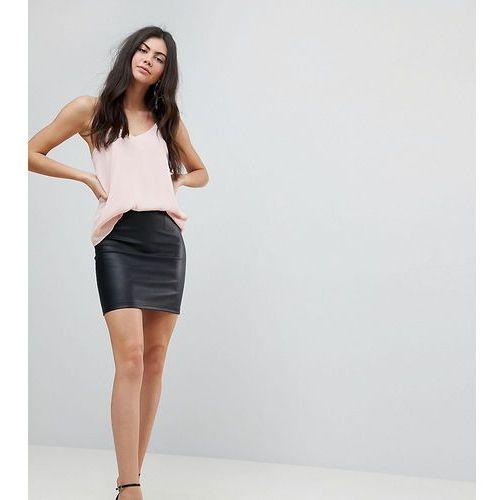 ASOS DESIGN Tall sculpt me leather look mini skirt - Black