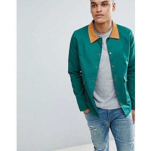 Boohooman trucker jacket with cord collar in bottle green - green
