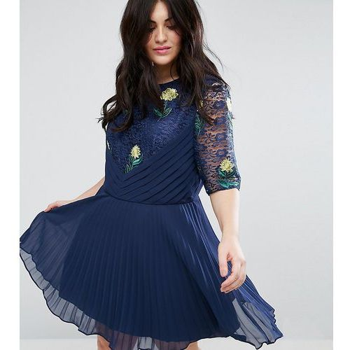 ASOS CURVE Embroidered Mini Pleat and Lace Dress - Navy, 1 rozmiar